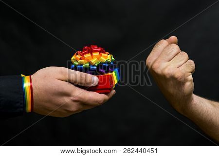 Representative Of The Lgbt Community. Refusal Of His Proposed Holiday Gift With Symbols. In Response