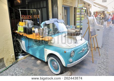 Collioure, France - September 5, 2018: A Creperie Made In An Old Fiat 500 In A Street Of Collioure