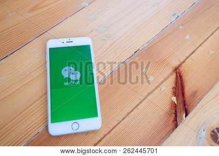 Chiang Mai / Thailand - October 6 2018 :iphone With Wechat Screen On Wood Desk