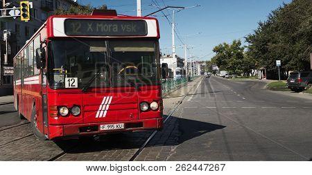Kazakhstan, Ust-kamenogorsk, September 14, 2018: Scania Cn112cl. Red Old Bus On One Of The City Stre