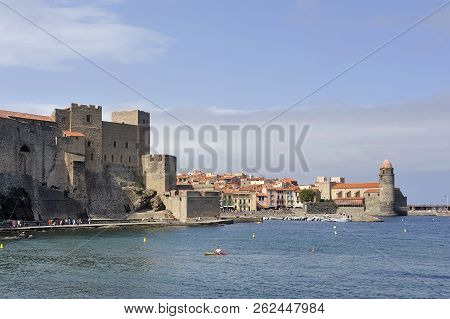 Collioure, France - September 5, 2018: Panorama Of Collioure From The Port With A View Of The Villag