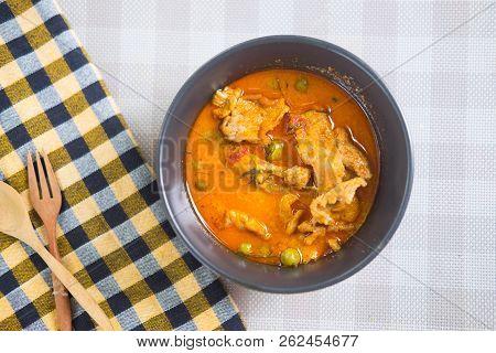 Pork Panang Curry In Black Bowl Menu In Thailand