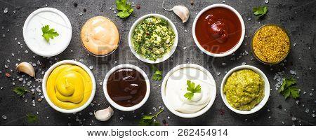 Set Of Sauces - Ketchup, Mayonnaise, Mustard Soy Sauce, Bbq Sauce, Pesto, Chimichurri, Mustard Grain