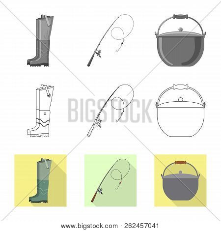 Vector Illustration Of Fish And Fishing Logo. Collection Of Fish And Equipment Stock Symbol For Web.