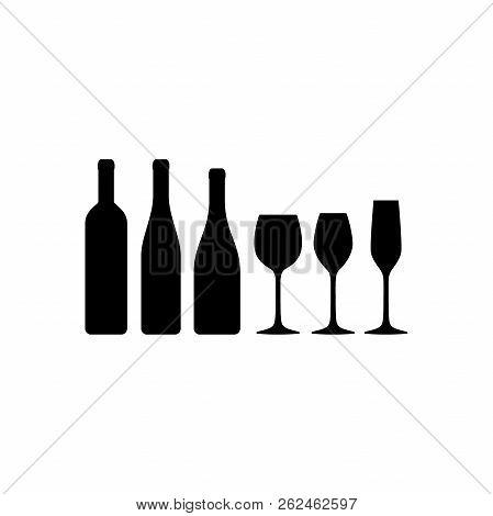 Basic Wine Glasses And Wine Bottles Vector Silhouette Icons. Wine Glass And Wine Bottle Types.