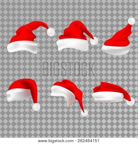 Santa Claus Red Hat Silhouette. Santa Red Hat Isolated On Transparent Background. Santa Hat. Vector