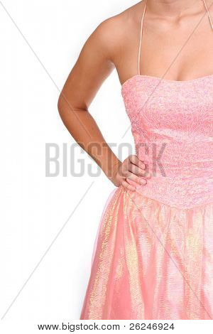 lovely peach prom or bridesmaid dress