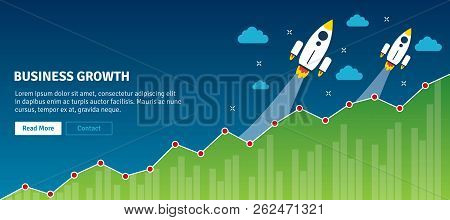 Rocket Flying On Chart Of Growth. Business Growth.