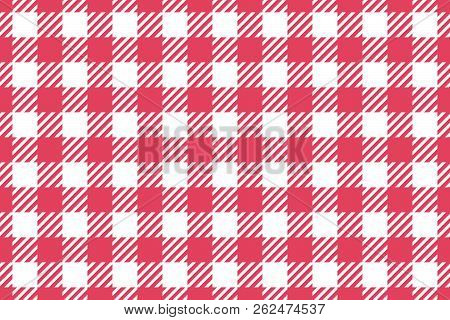 Vector Seamless Pattern. Wide Cell Horizontal Background Red Table Cloth In A Cage. Abstract Checker