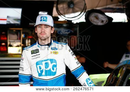 October 06, 2018 - Dover, Delaware, USA: Ryan Blaney (12) hangs out in the garage prior to practice for the Gander Outdoors 400 at Dover International Speedway in Dover, Delaware.