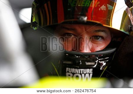 October 06, 2018 - Dover, Delaware, USA: Martin Truex, Jr (78) hangs out in the garage prior to practice for the Gander Outdoors 400 at Dover International Speedway in Dover, Delaware.