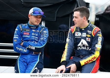 October 05, 2018 - Dover, Delaware, USA: Kyle Larson (42) and Alex Bowman (88) hang out on pit road before qualifying for the Gander Outdoors 400 at Dover International Speedway in Dover, Delaware.