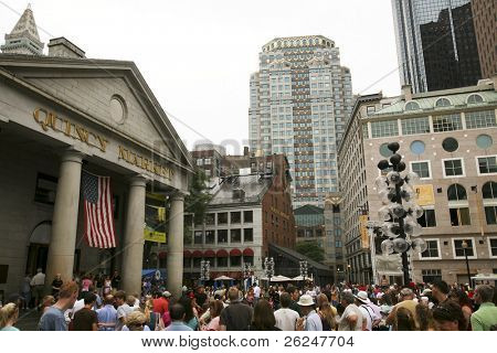 Popular Quincy Market in Downtown Boston.  This is a site on teh Freedom Trail