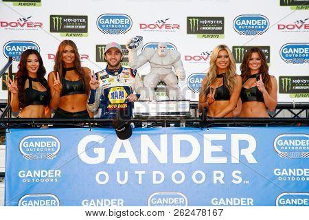 October 07, 2018 - Dover, Delaware, USA: Chase Elliott (9) celebrates in Victory Lane after winning the Gander Outdoors 400 at Dover International Speedway in Dover, Delaware.