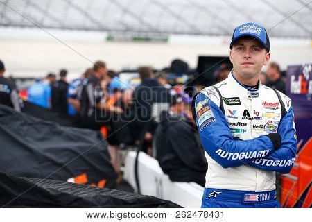 October 05, 2018 - Dover, Delaware, USA: William Byron (24) hangs out in the garage during practice for the Gander Outdoors 400 at Dover International Speedway in Dover, Delaware.