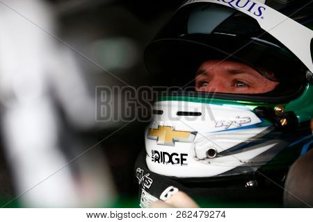 October 05, 2018 - Dover, Delaware, USA: Ryan Truex (11) hangs out in the garage during practice for the Bar Harbor 200 at Dover International Speedway in Dover, Delaware.