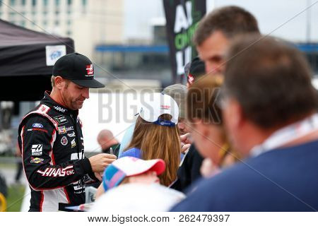 October 05, 2018 - Dover, Delaware, USA: Clint Bowyer (14) hangs out in the garage during practice for the Gander Outdoors 400 at Dover International Speedway in Dover, Delaware.