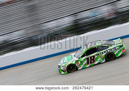 October 05, 2018 - Dover, Delaware, USA: Kyle Busch (18)  takes to the track to practice for the Gander Outdoors 400 at Dover International Speedway in Dover, Delaware.