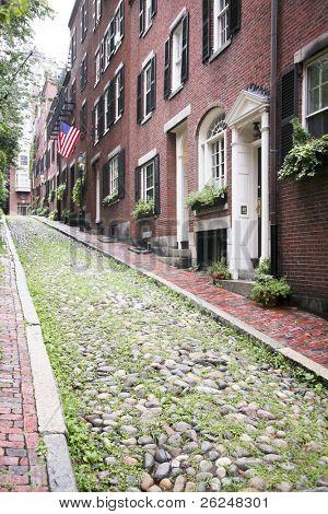 Acorn Street, the oldest street in the Beacon Hill area of Boston Massachusetts