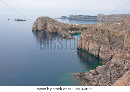 Lindos cliff, Rhodes island  (Greece)