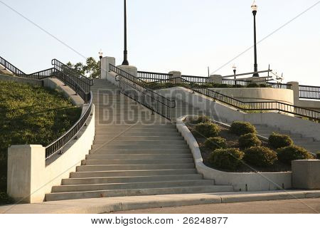 concrete stairs leading to Lane Ave on Ohio State's campus in Columbus