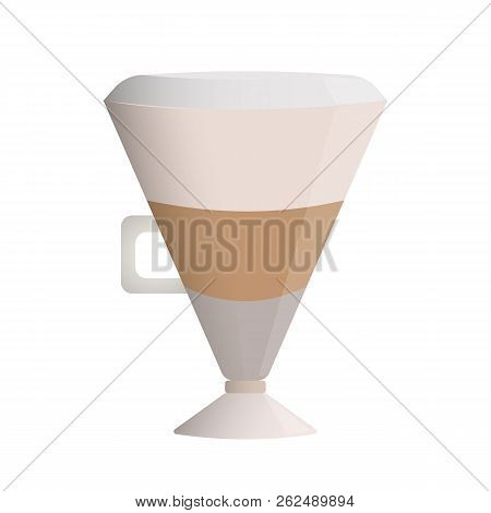 Latte coffee layered, glass cup with a handle milk froth hat poster