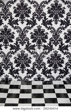 Coordinating floor and wallpaper in a home interior