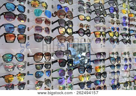 Athens, Greece - July 19, 2018: Cheap Sunglasses On Display At Street Market.