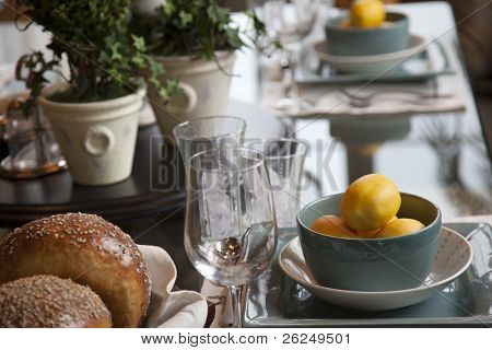 Elegant table setting with the focus on the lemons