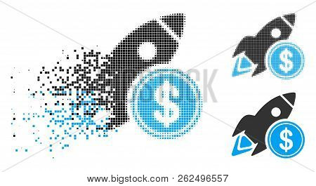 Dollar Rocket Icon In Dissolving, Dotted Halftone And Undamaged Whole Versions. Particles Are Compos