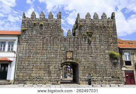 Trancoso, Portugal - June 21, 2018:  View From Outside Of The Medieval Kings Gate Located Between Tw