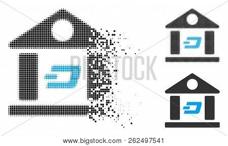 Dash Bank Building Icon In Dispersed, Pixelated Halftone And Undamaged Entire Variants. Particles Ar