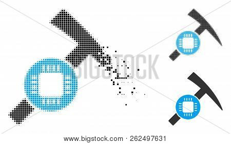 Electronic Mining Hammer Icon In Dissolved, Pixelated Halftone And Undamaged Solid Variants. Pieces