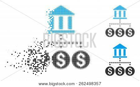 Bank Structure Icon In Dissipating, Dotted Halftone And Undamaged Whole Variants. Fragments Are Orga