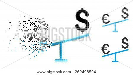 Euro Dollar Swing Icon In Dissipating, Dotted Halftone And Undamaged Whole Versions. Particles Are C