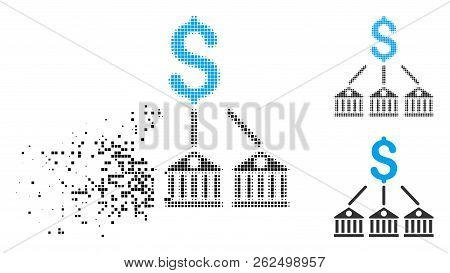 Bank Expenses Icon In Disappearing, Pixelated Halftone And Undamaged Whole Variants. Pixels Are Comp