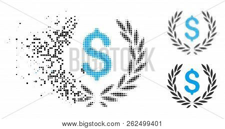 Financial Laurel Wreath Icon In Fractured, Pixelated Halftone And Undamaged Solid Versions. Fragment