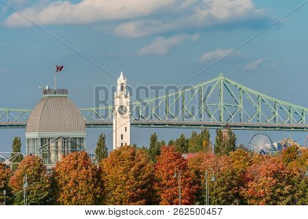 Montreal, Canada - 9 October 2018: Pavillon Bonsecours, Jacques Cartier Bridge And Clock Tower In Au