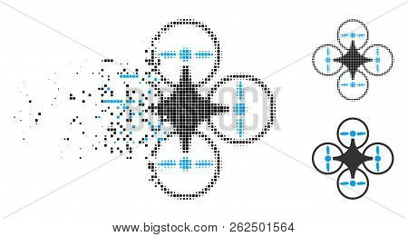 Air copter icon in dissolving, dotted halftone and undamaged solid versions. Fragments are organized into vector dissolving air copter symbol. Disappearing effect involves rectangle pixels. poster