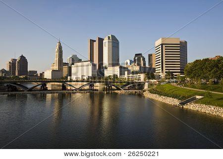 Columbus cityscape with the new Scioto Mile river walk area