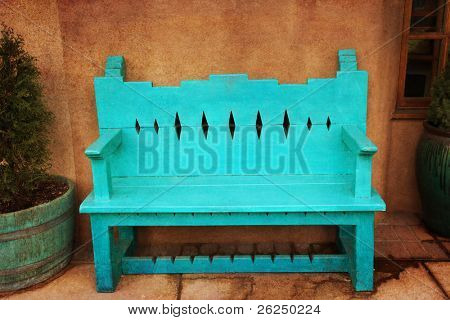 Turquoise bench in Santa Fe, New Mexico
