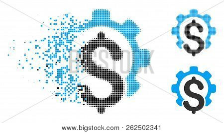 Financial Industry Icon In Dissolving, Dotted Halftone And Undamaged Whole Variants. Points Are Orga