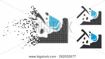 Ethereum Mining Hammer Icon In Dissolving, Pixelated Halftone And Undamaged Solid Versions. Pieces A