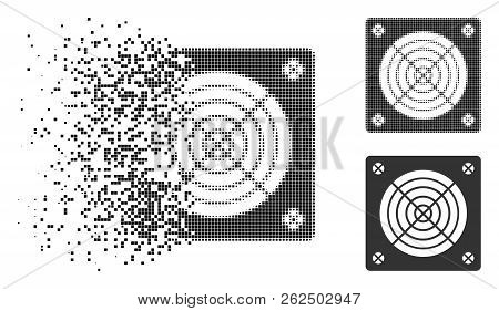 Asic Miner Hardware Icon In Dissolved, Dotted Halftone And Undamaged Whole Versions. Points Are Grou