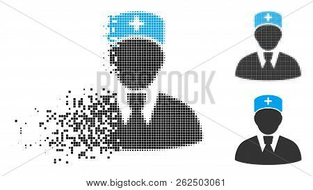 Head Physician Icon In Disappearing, Pixelated Halftone And Undamaged Solid Variants. Elements Are C