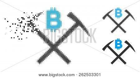 Bitcoin Mining Hammers Icon In Fractured, Dotted Halftone And Undamaged Solid Versions. Elements Are