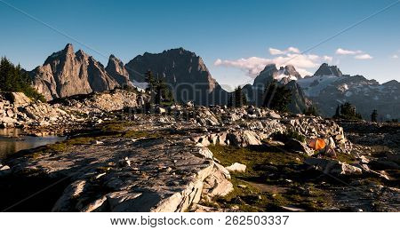 Sunset Illuminates Camp Near Tank Lakes, Summit Chief Mountain, Chimney Rock And Overcoat Peak. Alpi