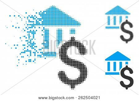 Dollar Bank Icon In Fractured, Dotted Halftone And Undamaged Solid Versions. Particles Are Combined