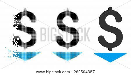 Dollar Down Icon In Dissipating, Dotted Halftone And Undamaged Entire Versions. Particles Are Groupe