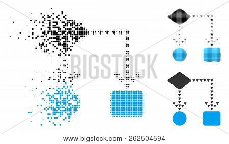 Algorithm Flowchart Icon In Dispersed, Dotted Halftone And Undamaged Whole Variants. Particles Are A